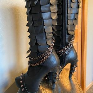 Hades, studded, knee-high boots. Like new.